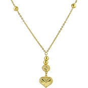Robert Manse Designs 23K 1/2 Thai Baht Gold 15 in. Heart Drop Ball Station Necklace
