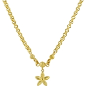 Robert Manse Designs 23K 1/2 Thai Baht Gold 16 in. Puff Star Rolo Chain Necklace