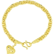 Robert Manse Designs 23K 1 Thai Baht Yellow Gold 7.25 in. Byzantine Heart Bracelet
