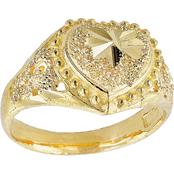 Robert Manse Designs 23K 1/2 Thai Baht Yellow Gold Heart Ring, Size 7