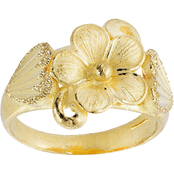 Robert Manse Designs 23K 1/2 Thai Baht Yellow Gold Matte Finish Flower Ring, Size 7