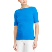 Lauren Ralph Lauren Petite Judy Stretch Cotton Boatneck Tee