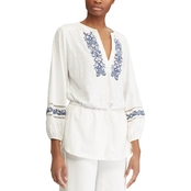 Lauren Ralph Lauren Petite Calivas Embroidered Cotton Top