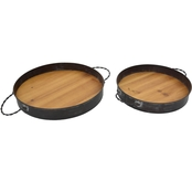 Simply Perfect Rustic Metal Wood Trays 2 pc. Set