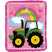Springs Creative John Deere Peace, Love and Tractors No Sew Fleece Throw Kit