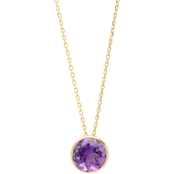 10K Yellow Gold 6mm Round Bezel Set Amethyst Stud Pendant