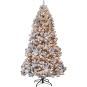 Gigi Seasons Snow Valley 7.5 ft. Pre-Lit Flocked Tree