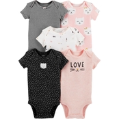 Carter's Infant Girls 5 pc. Assorted Cat Bodysuit Set