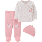 Carter's Infant Girls 3 pc. Footed Pants Set