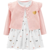 Carter's Infant Girls 2 Pc. Bodysuit Dress & Cardigan Set