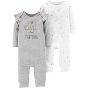 Carter's Infant Girls Ivory Grey Excited Coverall, 2 Pk.
