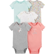 Carter's Infant Girls Pink Floral Mint Bodysuit, 5 Pk.