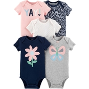 Carter's Infant Girls Gray Navy Butterfly Bodysuit, 5 Pk.