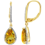 14K Yellow Gold Over Sterling Silver Citrine and White Topaz Earrings