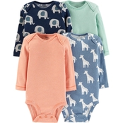 Carter's Infant Boys Elephant and Giraffe Bodysuit, 4 Pk.