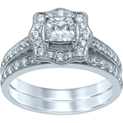 14K White Gold 3/4 CTW Princess Center Diamond Bridal Set, Size 7