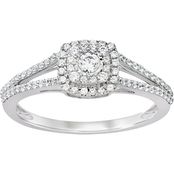 10K White Gold 1/3 CTW Round Center Engagement Ring