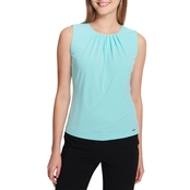 Calvin Klein Solid Pleat Neck Cami Top