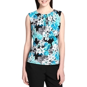 Calvin Klein Printed Pleat Neck Cami Top