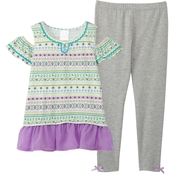 Ponytails Little Girls Cold Shoulder Print Top and Solid Leggings Set