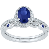 10K White Gold Genuine Blue Sapphire and 1/3 CTW Diamond Bridal Set