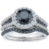 10K White Gold 2 CTW White and Black Diamond Bridal Set