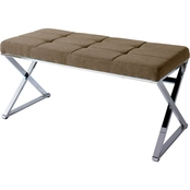 CorLiving Huntington Modern Fabric Bench with X Shape Chrome Base