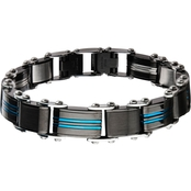 INOX Double Sided Stainless Steel Blue and Black Ion Plated Reversible Bracelet