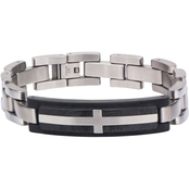 INOX Cross Inlaid in Solid Carbon Graphite Link Bracelet