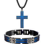 INOX Matte Black & Blue Ion Plated Pendant and Bracelet Set