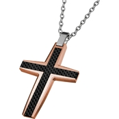 INOX Rose Gold IP Carbon Fiber Cross Pendant 24 In.