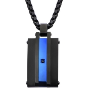 INOX Matte Finished Black & Blue Ion Plated, Black Cubic Zirconia Pendant 24 In.