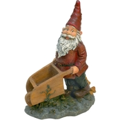 Design Toscano Wheeler with Wheelbarrow Garden Gnome Statue