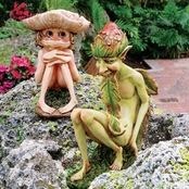 Design Toscano Svenska and Theodor Garden Troll Sculpture 2 pc. Set