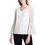 Calvin Klein Collection Bell Sleeve Knit Lace Top