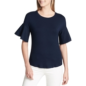 Calvin Klein Collection Top with Poplin Flare