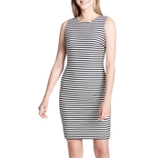 Calvin Klein Collection Textured Sheer Stripe Sheath Dress