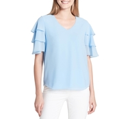 Calvin Klein Collection V Neck with 3 Tier Ruffle Blouse
