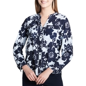 Calvin Klein Collection Printed Roll Sleeve Top