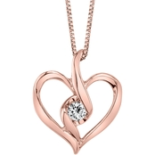 Sirena 10K Rose Gold 1/14 CTW Diamond Heart Pendant