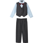 Andrew Fezza Toddler Boys Plaid 4 pc. Vest Set with Red Bow Tie
