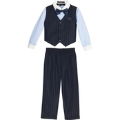Andrew Fezza Toddler Boys Pinstripe 4 pc. Vest Set with Bow Tie