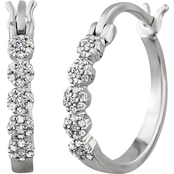Sterling Silver 1/4 CTW Diamond Hoop Earrings