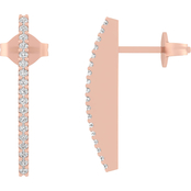 10K Rose Gold 1/7 CTW Diamond Hoop Earrings