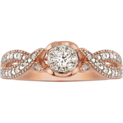 10K Rose Gold 1/5 CTW Diamond Ring, Size 7