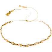 Spartina 449 18K Goldtone White Opal Woven Bead 12.5 in. Choker Necklace
