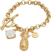 Spartina 449 18K Matte Goldtone Pineapple Toggle Bracelet