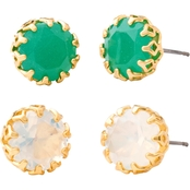 Spartina 449 18K Matte Goldtone Vintage Bauble Stud Earrings 2 Pc. Set