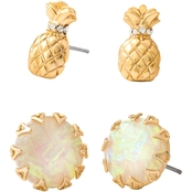 Spartina 449 18K Matte Goldtone Pineapple Stud Earrings 2 Pc. Set