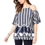 Alfani Petite Mixed Print Cold Shoulder Top